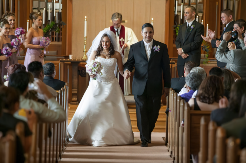 Bride Groom Leaving Church After Marriage