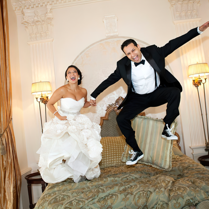 Wedding Photography Gallery Wedding Couple Bouncing On The Bridal Sweet Bed